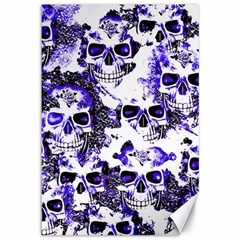 Cloudy Skulls White Blue Canvas 12  X 18   by MoreColorsinLife