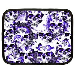 Cloudy Skulls White Blue Netbook Case (xxl)  by MoreColorsinLife