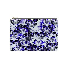 Cloudy Skulls White Blue Cosmetic Bag (medium)  by MoreColorsinLife