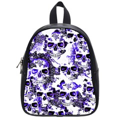 Cloudy Skulls White Blue School Bags (small)  by MoreColorsinLife