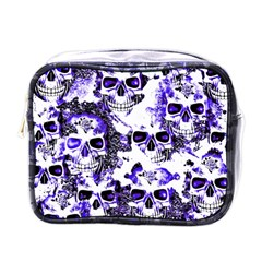 Cloudy Skulls White Blue Mini Toiletries Bags by MoreColorsinLife
