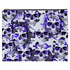 Cloudy Skulls White Blue Cosmetic Bag (xxxl)  by MoreColorsinLife