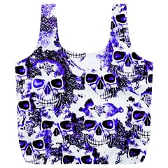 Cloudy Skulls White Blue Full Print Recycle Bags (l)  by MoreColorsinLife