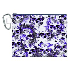 Cloudy Skulls White Blue Canvas Cosmetic Bag (xxl) by MoreColorsinLife