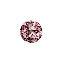 Cloudy Skulls White Red 1  Mini Magnets by MoreColorsinLife