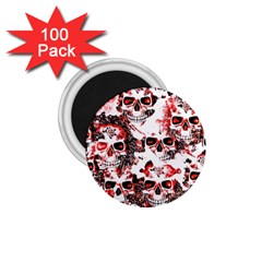 Cloudy Skulls White Red 1 75  Magnets (100 Pack)  by MoreColorsinLife