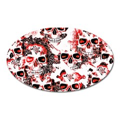 Cloudy Skulls White Red Oval Magnet by MoreColorsinLife