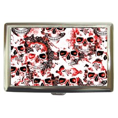 Cloudy Skulls White Red Cigarette Money Cases by MoreColorsinLife