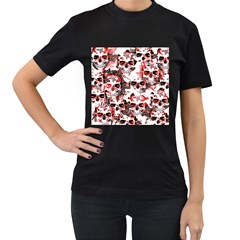 Cloudy Skulls White Red Women s T Shirt (black) by MoreColorsinLife
