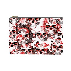 Cloudy Skulls White Red Cosmetic Bag (large)  by MoreColorsinLife