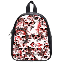 Cloudy Skulls White Red School Bags (small)  by MoreColorsinLife