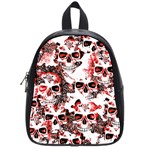 Cloudy Skulls White Red School Bags (Small)  Front