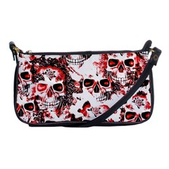 Cloudy Skulls White Red Shoulder Clutch Bags by MoreColorsinLife