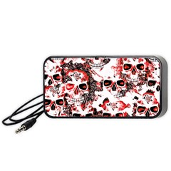 Cloudy Skulls White Red Portable Speaker (black) by MoreColorsinLife