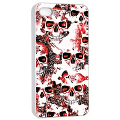 Cloudy Skulls White Red Apple Iphone 4/4s Seamless Case (white) by MoreColorsinLife