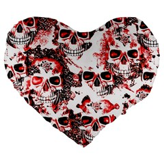 Cloudy Skulls White Red Large 19  Premium Heart Shape Cushions by MoreColorsinLife