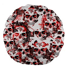 Cloudy Skulls White Red Large 18  Premium Flano Round Cushions by MoreColorsinLife