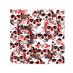 Cloudy Skulls White Red Small Satin Scarf (square) by MoreColorsinLife