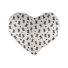 French Bulldog Standard 16  Premium Flano Heart Shape Cushions by Valentinaart