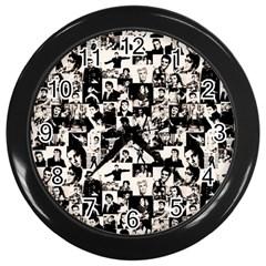 Elvis Presley Pattern Wall Clocks (black) by Valentinaart
