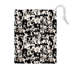 Elvis Presley Pattern Drawstring Pouches (extra Large) by Valentinaart