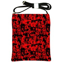 Elvis Presley Pattern Shoulder Sling Bags by Valentinaart
