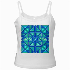 Grid Geometric Pattern Colorful White Spaghetti Tank