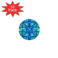 Grid Geometric Pattern Colorful 1  Mini Buttons (10 Pack)