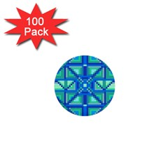 Grid Geometric Pattern Colorful 1  Mini Buttons (100 Pack)  by Nexatart