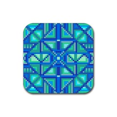 Grid Geometric Pattern Colorful Rubber Square Coaster (4 Pack)  by Nexatart
