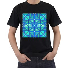 Grid Geometric Pattern Colorful Men s T Shirt (black) (two Sided)
