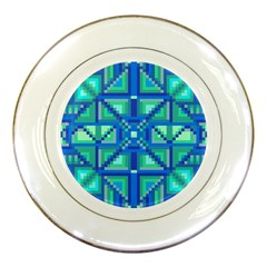Grid Geometric Pattern Colorful Porcelain Plates by Nexatart
