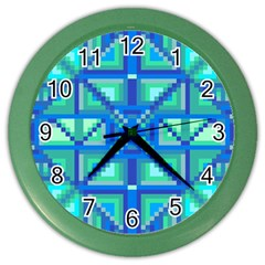 Grid Geometric Pattern Colorful Color Wall Clocks by Nexatart