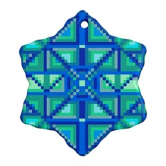 Grid Geometric Pattern Colorful Snowflake Ornament (two Sides)