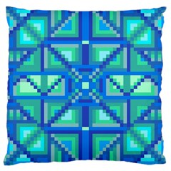 Grid Geometric Pattern Colorful Large Cushion Case (two Sides) by Nexatart