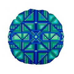 Grid Geometric Pattern Colorful Standard 15  Premium Flano Round Cushions