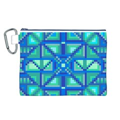 Grid Geometric Pattern Colorful Canvas Cosmetic Bag (l) by Nexatart