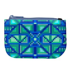 Grid Geometric Pattern Colorful Large Coin Purse