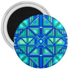 Grid Geometric Pattern Colorful 3  Magnets by Nexatart