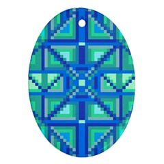 Grid Geometric Pattern Colorful Ornament (oval) by Nexatart
