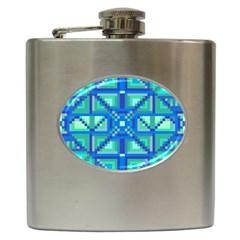 Grid Geometric Pattern Colorful Hip Flask (6 Oz) by Nexatart