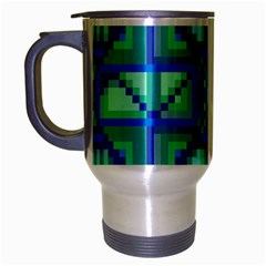 Grid Geometric Pattern Colorful Travel Mug (silver Gray) by Nexatart