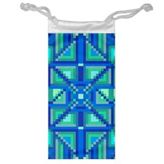 Grid Geometric Pattern Colorful Jewelry Bag by Nexatart