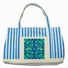 Grid Geometric Pattern Colorful Striped Blue Tote Bag by Nexatart