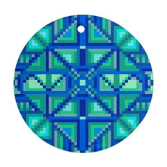 Grid Geometric Pattern Colorful Round Ornament (two Sides)