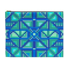 Grid Geometric Pattern Colorful Cosmetic Bag (xl) by Nexatart