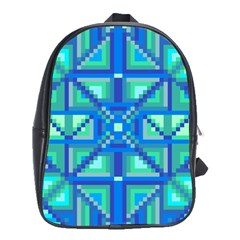 Grid Geometric Pattern Colorful School Bags(large)  by Nexatart