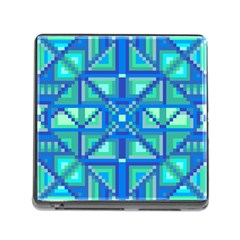 Grid Geometric Pattern Colorful Memory Card Reader (square)