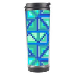 Grid Geometric Pattern Colorful Travel Tumbler by Nexatart
