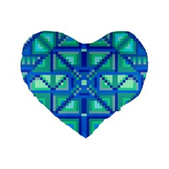 Grid Geometric Pattern Colorful Standard 16  Premium Flano Heart Shape Cushions by Nexatart